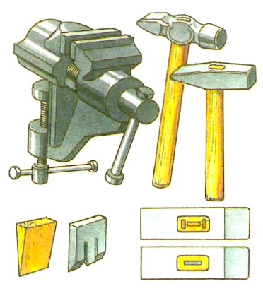 Тиски и слесарные молотки
