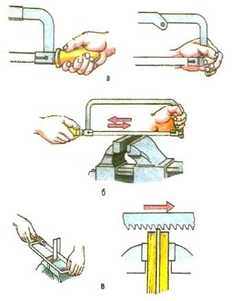 Резка металла ножовкой