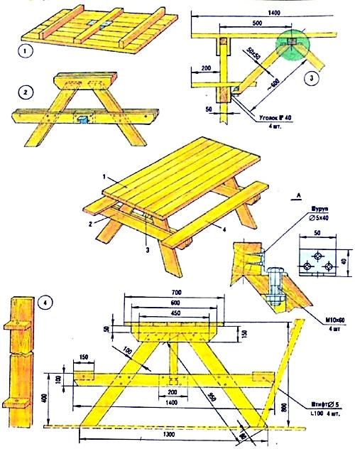 Садовая скамейка и стол своими руками