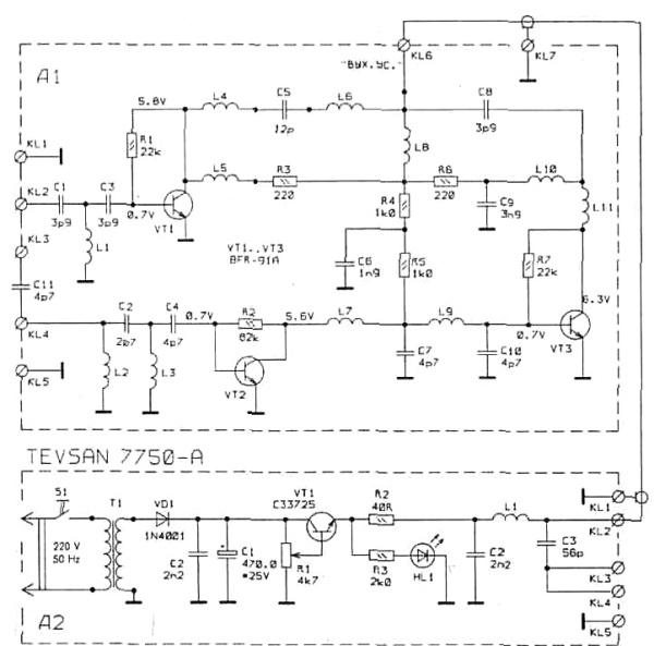 Принципиальная схема усилителя антенны TEVSAN 7750-А