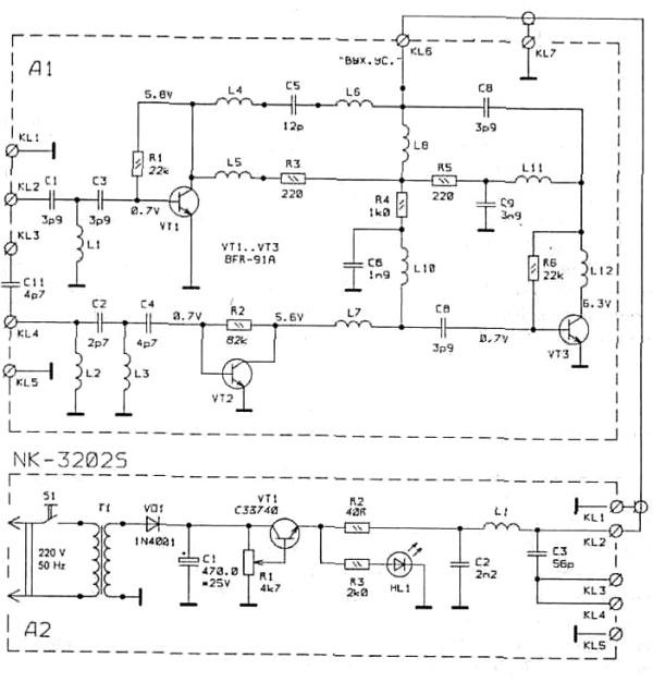 Принципиальная схема усилителя антенны NK-3202S