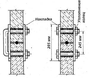 Соединение бетонных колец скобами и болтами