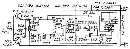 Схема шупа с индикацией импульсов