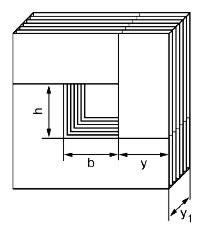 Стержневой магнитопровод трансформатора.