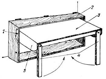 Трансформирующийся низ двухъярусной кровати в положении «стол»