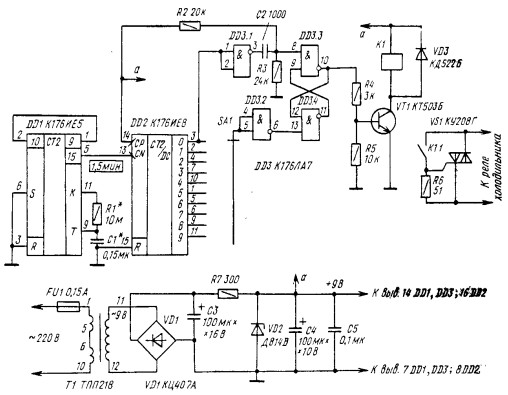Схема регулятора для холодильника без обратной связи